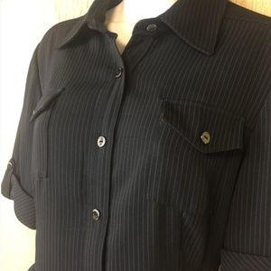 Tahari ASL Shirt Dress Black & White Pinstripe 14